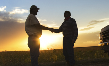 Growers shaking hands